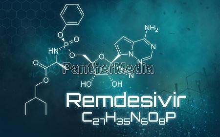 chemische formel von remdesivir auf futuristischem
