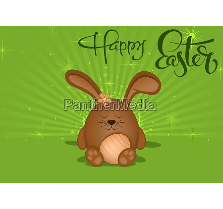 happy easter greeting card with brown