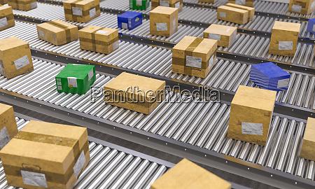 foerderrollen mit unterschiedlichen pakettypen