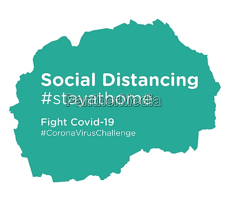mazedonien karte mit social distancing stayathome