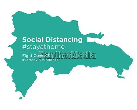 dominikanische republik karte mit social distancing