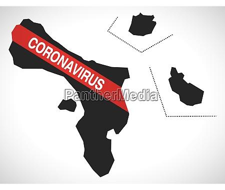 karibik niederlande karte mit coronavirus warnung
