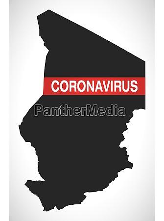 tschad karte mit coronavirus warnabbildung