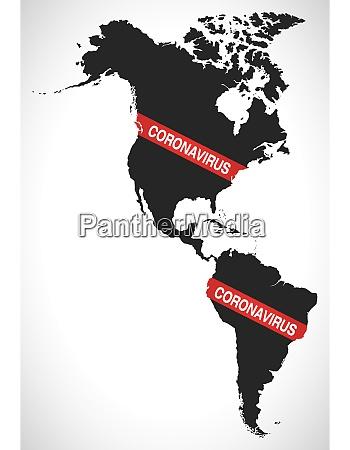 amerika kontinent karte mit coronavirus warnung