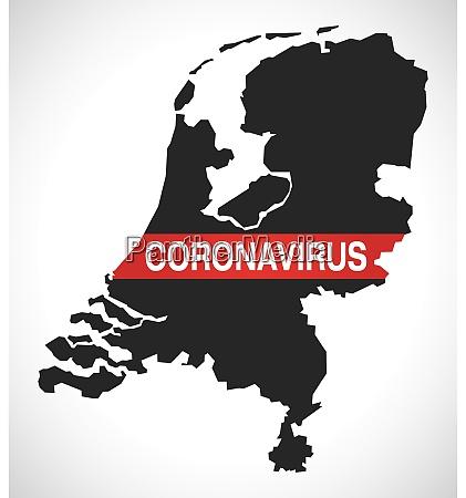 niederlande karte mit coronavirus warnung illustration