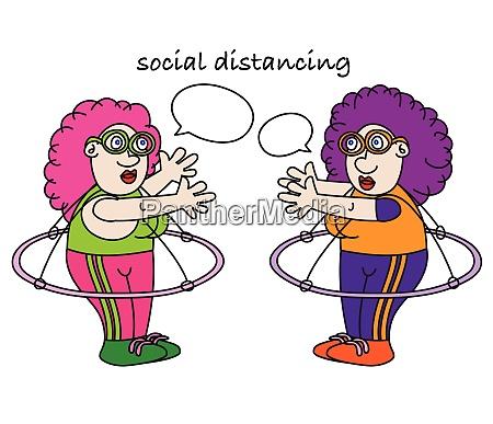 lustige coronavirus soziale entfernung cartoon