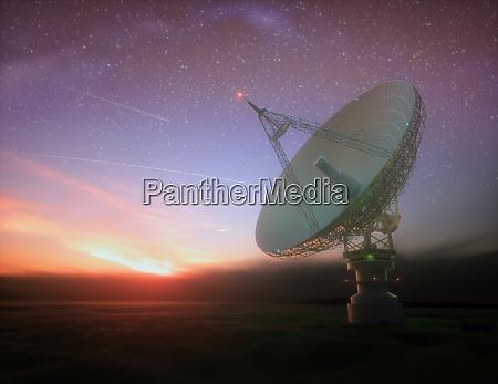 riesige satellitenschuessel fuer signal von galaxie