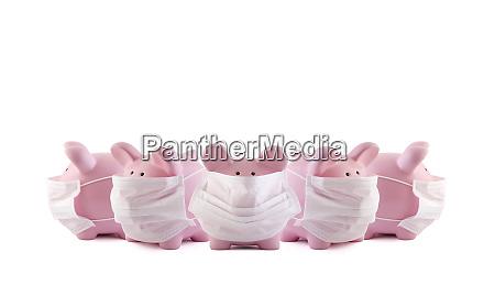 gruppe von rosa sparschwein baenke mit