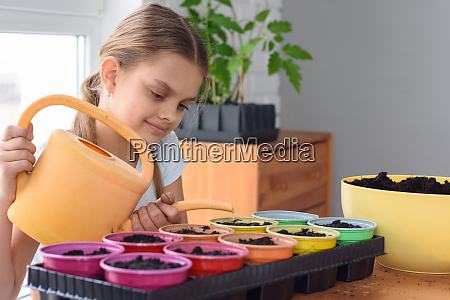 a teenager plants plants in pots