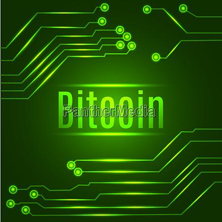 gruene bitcoin digitale waehrung konzept auf