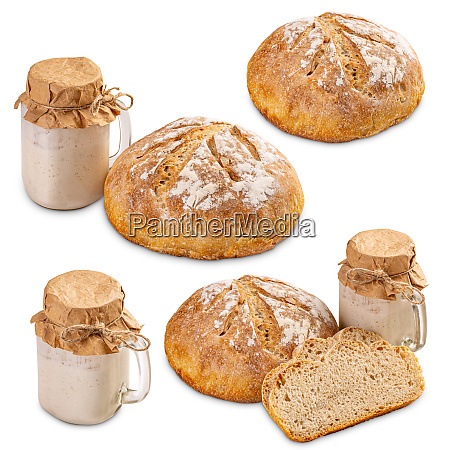 set of freshly baked bread