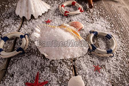 meersalzkristalle in der muschel auf holzhintergrund