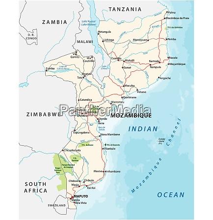 mosambik strasse und nationalpark vektorkarte