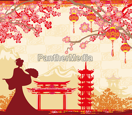 abstract asian landscape and asian girl