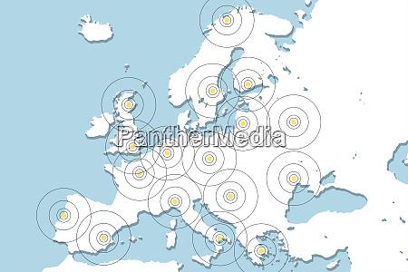 handy tracking abbildung mit europakarte und