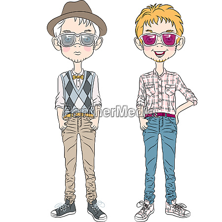 vektor lustige cartoon hipster jungen