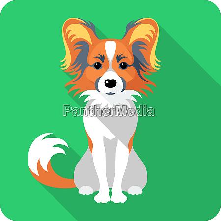 hund papillon icon flaches design
