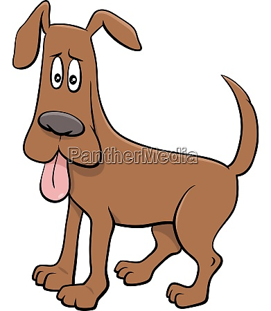 cartoon hund charakter mit ausgestreckter zunge