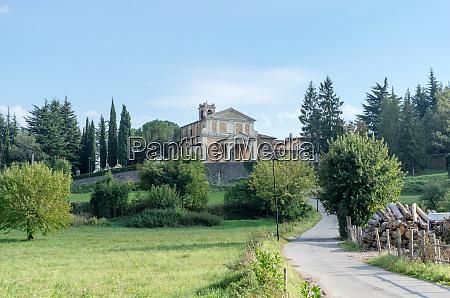 italian landscape with baroque church