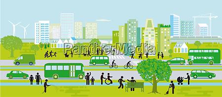 stadtsilhouette mit nachhaltiger entwicklung