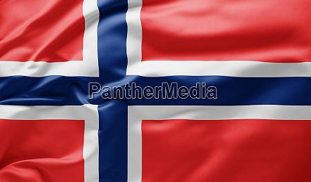 schwenkende nationalflagge norwegens