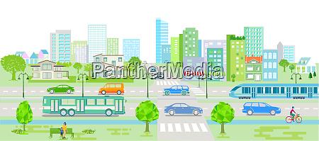 stadtsilhouette mit autos bus und strassenbahn