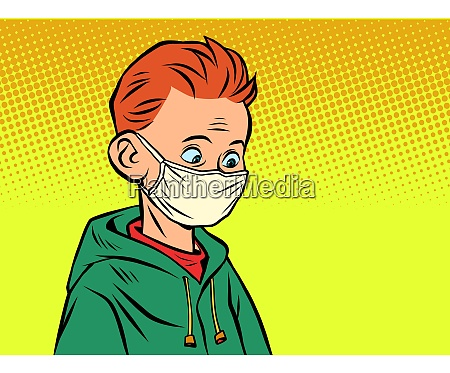 ein junge in einer medizinischen maske