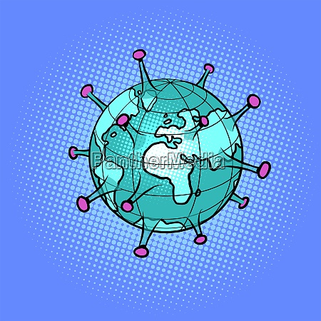 planet erde als coronavirus epidemie kranke
