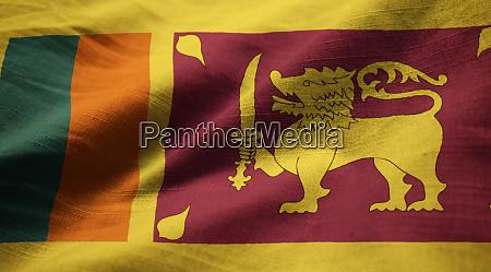 nahaufnahme von ruffled sri lanka flagge