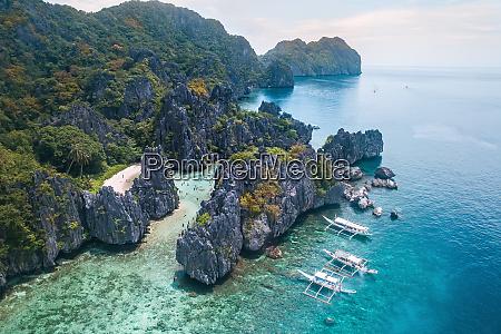 aerial view of hidden beach calmung