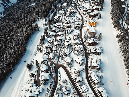 aerial view of houses in french