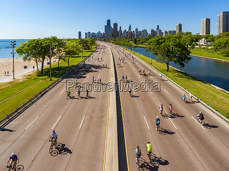 aerial view of cyclists enjoying the