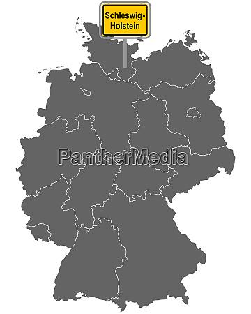 landkarte von deutschland mit ortsschild von