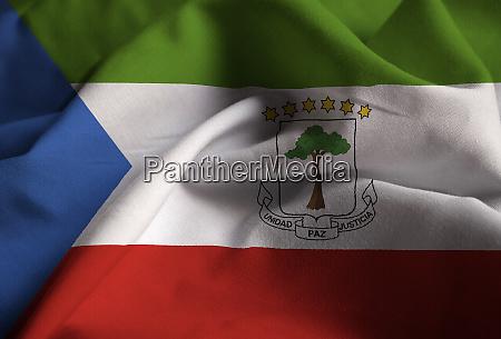nahaufnahme der rueschen AEquatorialguinea flagge AEquatorialguinea