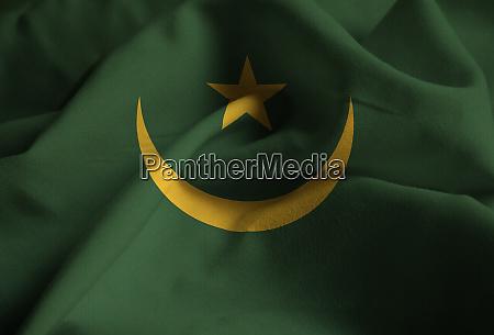 nahaufnahme von ruffled mauretanien flagge mauretanien