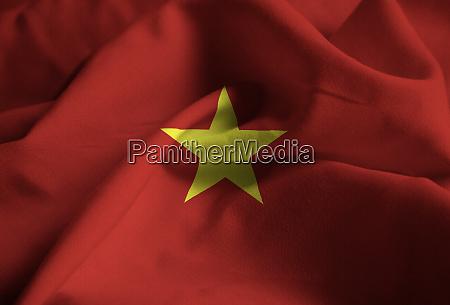 nahaufnahme von ruffled vietnam flagge vietnam
