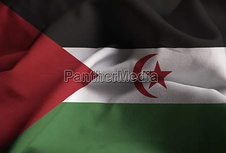 nahaufnahme der verraffung der westsahara flagge