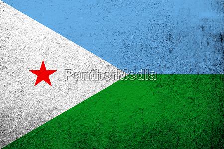 die nationalflagge der republik dschibuti grunge
