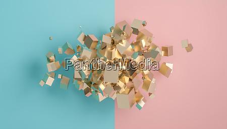 abstrakter hintergrund goldwuerfel unterschiedlicher groesse auf