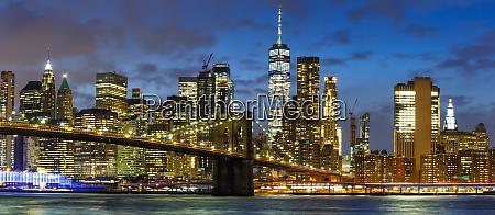 new york city skyline night manhattan