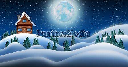 weihnachtsmannhaus am nordpol in schneefeldern in