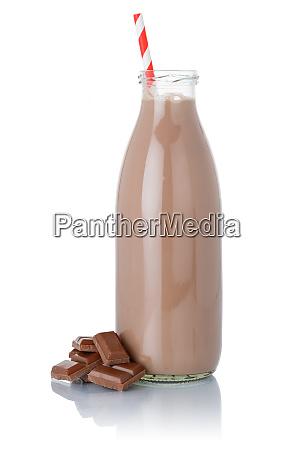 frische schokolade milch shake milchshake strohflasche