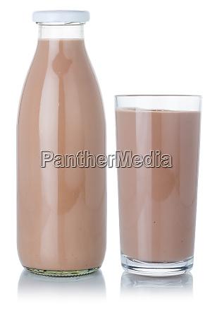 schokoladenmilch shake milchshake glas und flasche
