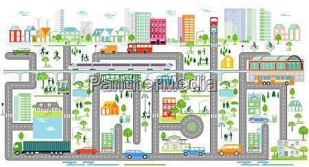 stadtsilhouette mit verkehr informationsgrafiken