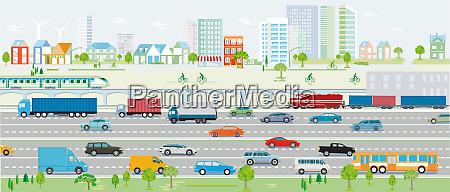 autobahn verkehr mit autos und eisenbahn