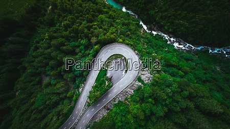 aerial view of a road in