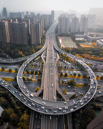 luftaufnahme, eines, Überflugs, in, chengdu, china, während, der - 28381755