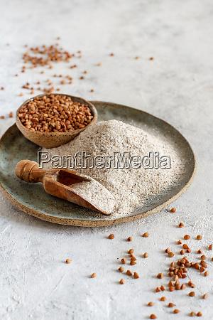 buckwheat flour and grain with a