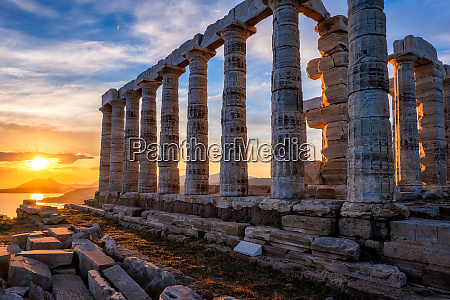poseidon, temple, ruins, on, cape, sounio - 28388109