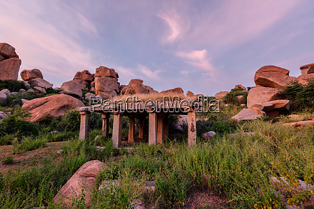 ancient, ruins, of, hampi, on, sunset. - 28393973